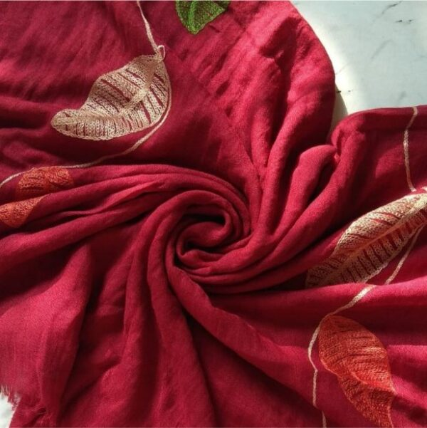 Embroidered Leaves Lawn Stole Maroon