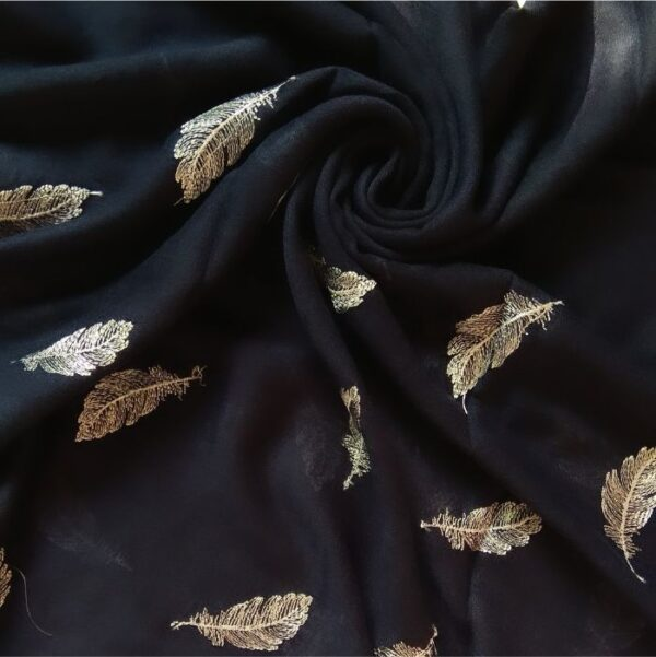 Embroidered Leaves Lawn Stole Navy