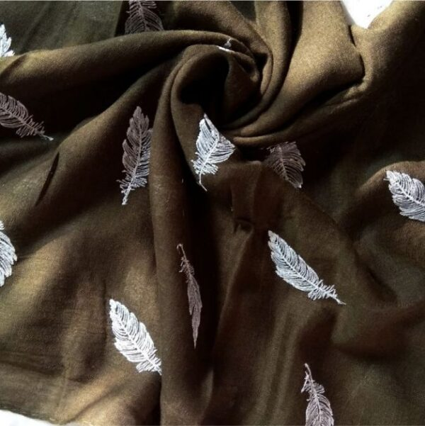 Embroidered Leaves Lawn Stole Olive Green