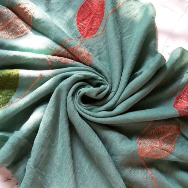 Embroidered Leaves Lawn Stole Turquoise