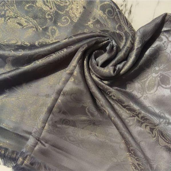 Glittery Floral Silk Grey