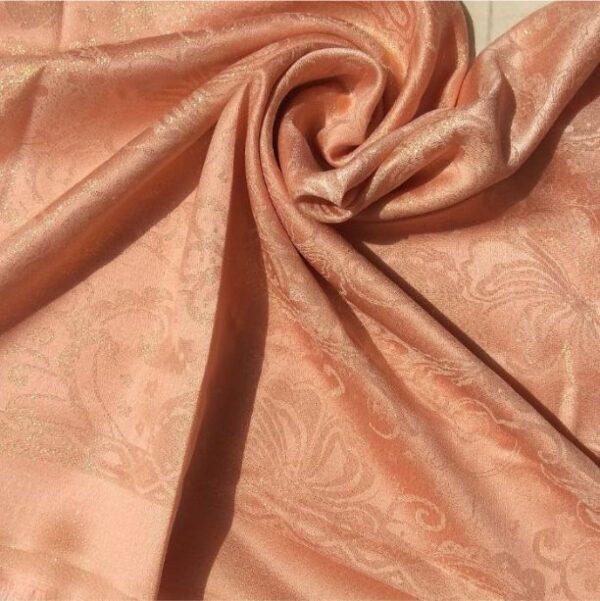 Glittery Floral Silk Peach