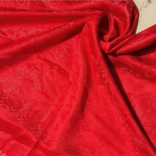 Glittery Floral Silk Scarlet