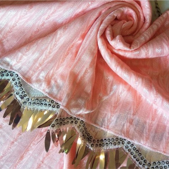 Shinning Frills Fancy Stole Baby Pink
