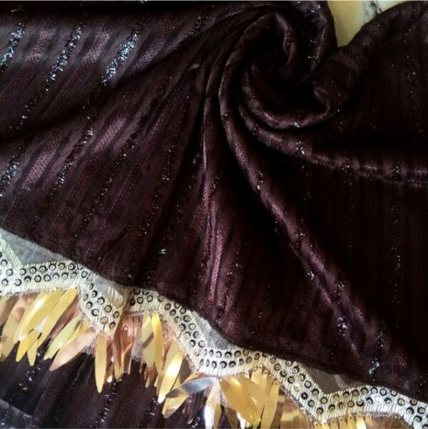Shinning Frills Fancy Stole Brown