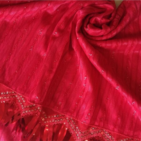 Shinning Frills Fancy Stole Cherry Red