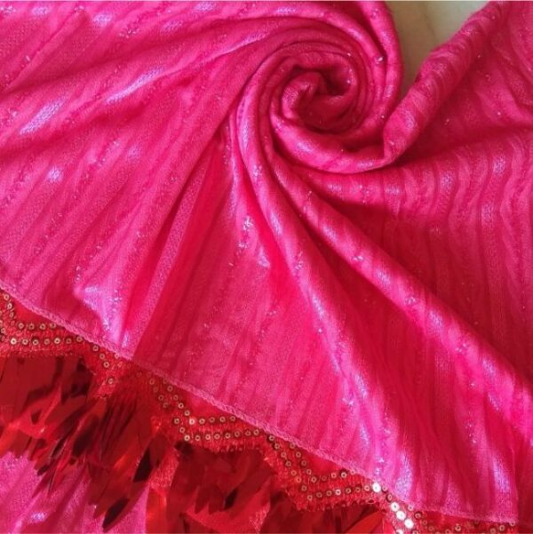 Shinning Frills Fancy Stole Deep Pink