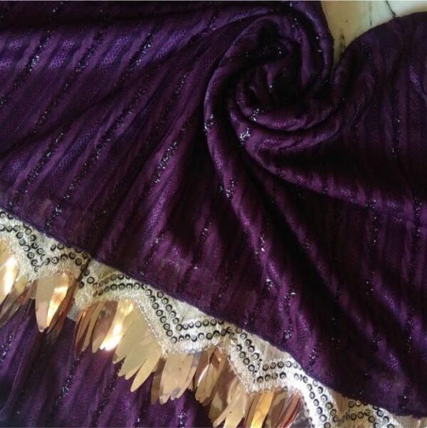 Shinning Frills Fancy Stole Purple