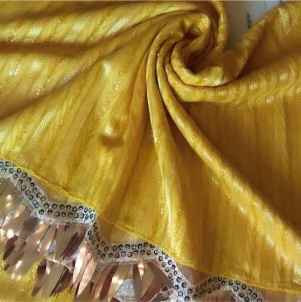 Shinning Frills Fancy Stole Yellow