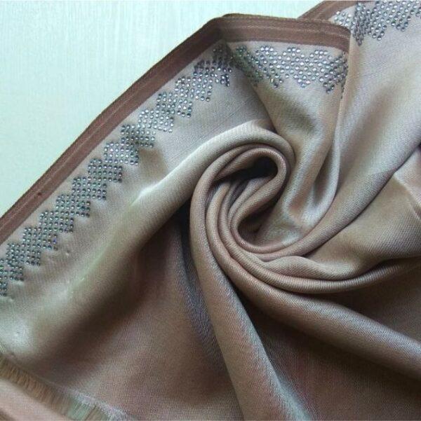 Exclusive Diamante Silk Coffee Brown