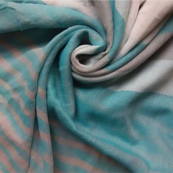 Premium Lawn Striped Hijab Blue