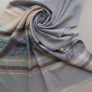Premium Cotton Silk Scarf Ice Blue with Black Border