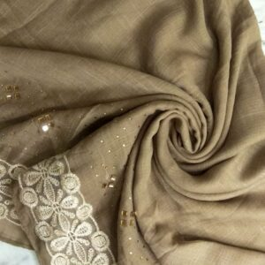 Diamante and Lace Stole Beige