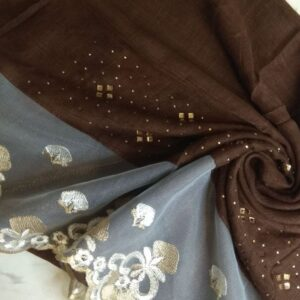 Diamante and Lace Stole Brown