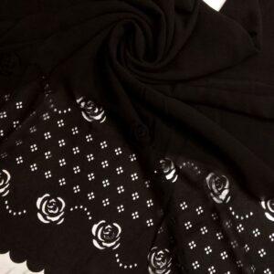 Laser Cut Chiffon Hijab Black