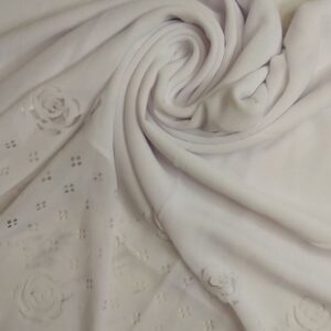 Laser Cut Chiffon Hijab White