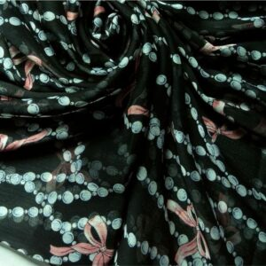 Printed Square Hijab Black with Bows
