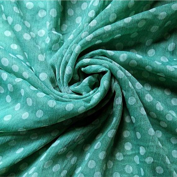 Printed Square Hijab Green Polka Dots