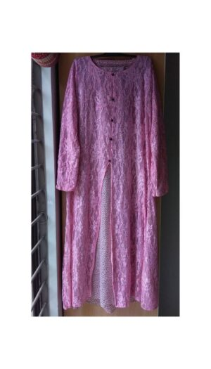 Net Shrug Abaya Light Pink