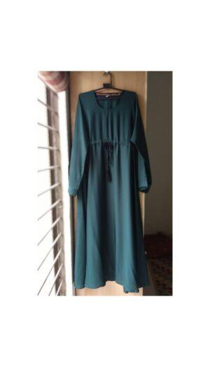 Flared Abaya with Waistline Rope Green