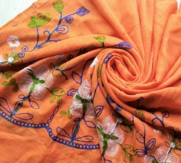 Classic Embroidered Lawn Scarf Orange