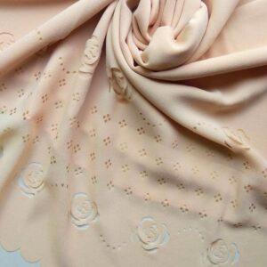 Laser Cut Chiffon Hijab Light Peach