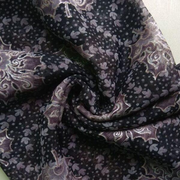 Printed Square Hijab Black and Mauve