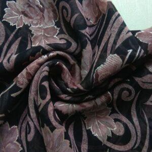 Printed Square Hijab Black with Tea Pink Floral