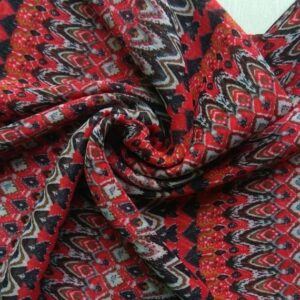 Printed Square Hijab Fire Red