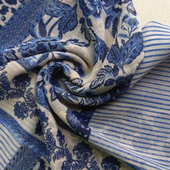 Printed Square Hijab Pretty Blue