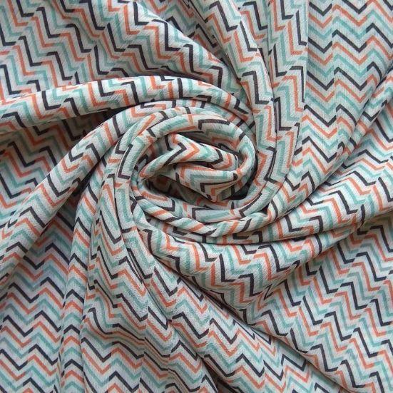 Printed Square Hijab Zig Zag Confetti